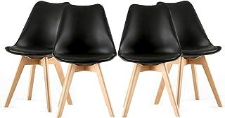 LFANH 4 sillas sillas de Comedor, sillas tulipán para Comedor, Cocina de Oficina, sillas nórdicas de Madera con Patas de Madera y Asiento Acolchado Suave, Respaldo ergonómico,Negro
