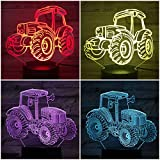 Traktor Nachtlicht LED 3D Illusion Nachttischlampe LED Gradient Nachtlicht visuelle Dekoration Kinder Kinder Geschenk Nachttischlampe Neon