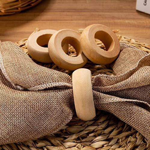 Voanzo Lot de 10 ronds de serviette rustiques en bois faits main pour décoration de table