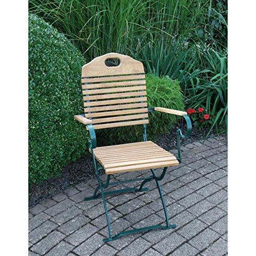 Gartenstuhl BAD TÖLZ grün mit Armlehnen, Robinien Holz, klappbar