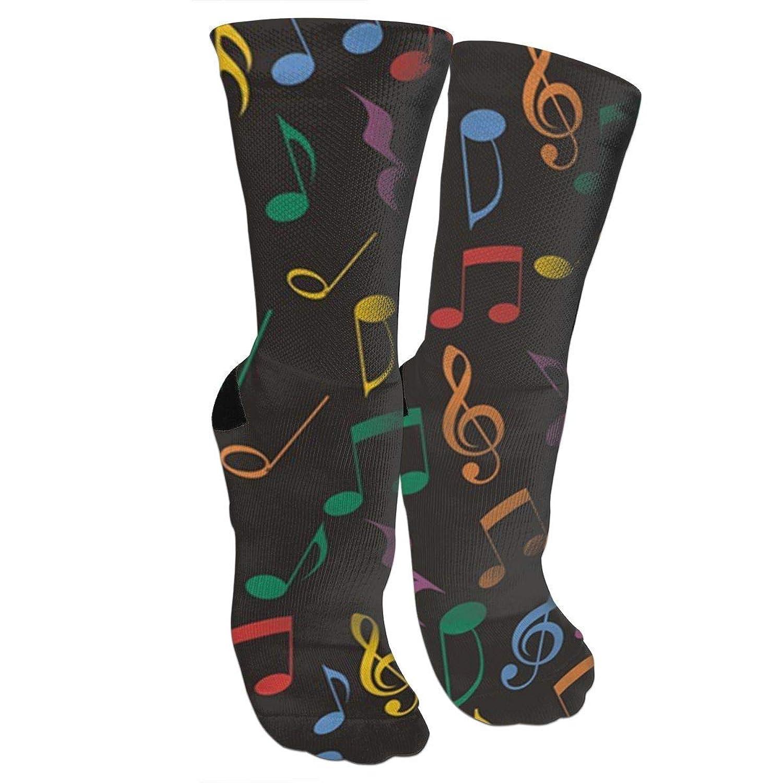 靴下 抗菌防臭 ソックス 音楽ノートアスレチックスポーツソックス、旅行&フライトソックス、塗装アートファニーソックス30センチメートル長い靴下