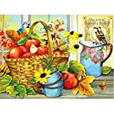 DIY Pintura Al Óleo Digital por Números Oil Painting Kits De Lona para Decoración De Adultos Niños -Fruta flor cesta pájaro 40 x 50cm