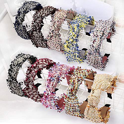 XdiseD9Xsmao Zachte Twist Knot Tweed doek haarband duurzaam, licht hoofddeksel, haaraccessoire cadeau voor vrouwen en meisjes blauw