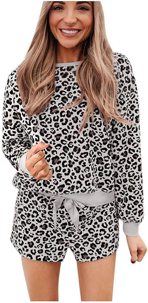 Hessimy Pajama Set for Women,Women Pajamas Set Sleepwear Leopard Loungewear Long Sleeve Tops Elastic Drawstring Shorts