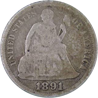 1891 10c Liberty Seated Silver Dime US Coin Average Circulated
