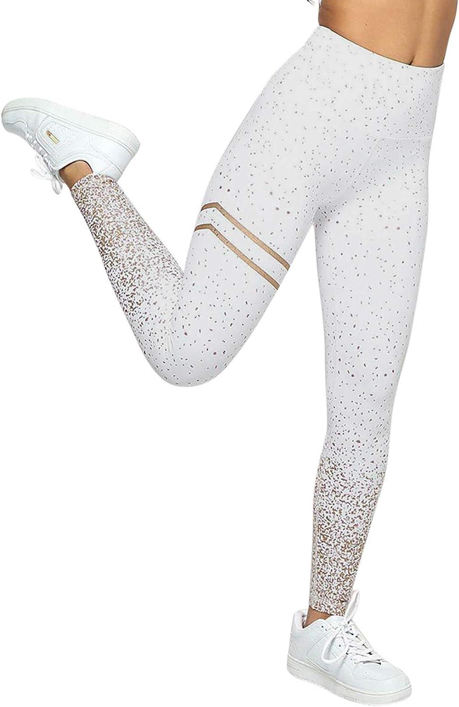 Wocachi High Waist Yoga Pants for Women, Striped Splicing Tummy Control Compression Leggings Women Running Sport Tight