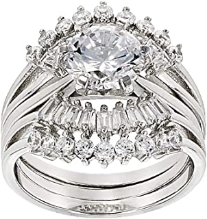 White Cubic Zirconia Rhodium Over Sterling Silver Ring With Guard 5.80ctw