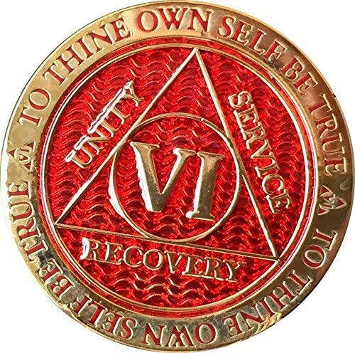 RecoveryChip 6 Year AA Medallion Red Chip Gold Max 50% OFF Reflex Plated Cheap mail order specialty store