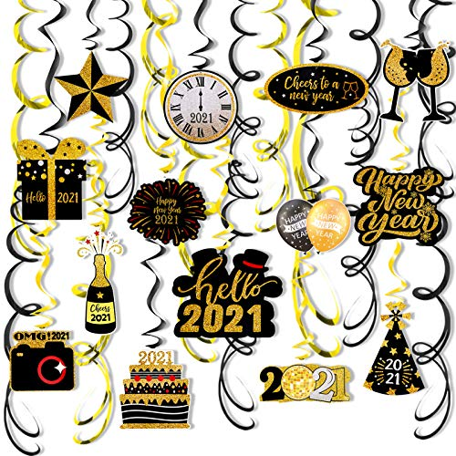 HOWAF 2021 Decorazioni per Feste di Capodanno, 30 Pezzi Spirale Appendere per Capodanno 2021 Anno Nuovo Decorazioni Oro Nero, soffitti Pellicole Props per Capodanno Forniture