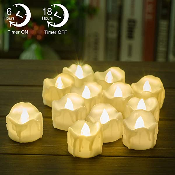 Timer Candles 12pcs PChero Battery Operated LED Decorative Flameless Candles Flickering Tea Light 6 Hours On And 18 Hours Off Per Cycle Perfect For Birthday Wedding Party Home Decor Warm White