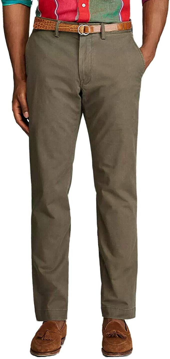 Polo Ralph Lauren Men's Stretch Straight Fit Chino Pant, Olive Green, 42W x 34L