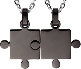Kebaner Best Friend Couples Puzzle Necklace 2/3/4/5/6/7/8 Piece Silver/Black/Gold Tone - Stainless Steel