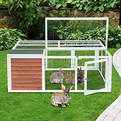 Magshion Spacious Wooden Chicken Coop Bunny Rabbit Hutch Pet Hutch Playpen House (Style 03)