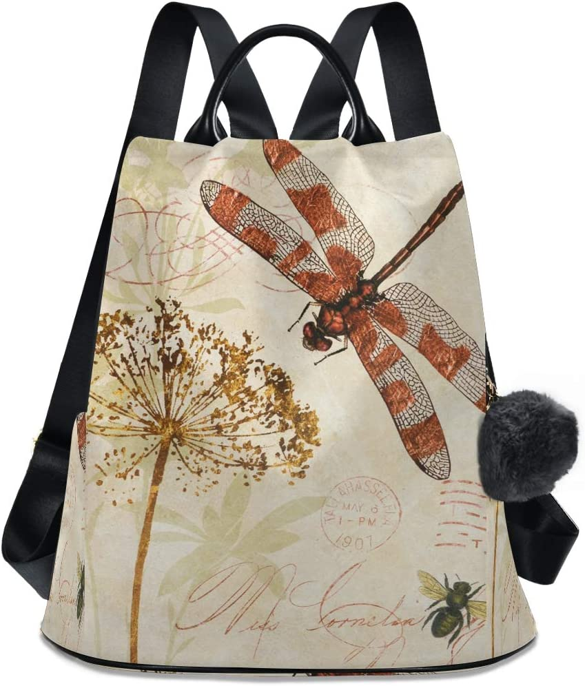 Mesa Mall ALAZA Watercolor Retro Dragonfly Dandelion Fixed price for sale with Backpack Purse A