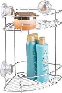 mDesign étagère de Douche avec Ventouse, argenté – étagère d'Angle sur Deux Niveaux pour shampoing, savons, Rasoir etc. - ...