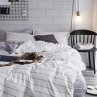 Luofanfei Streifen Bettwäsche 3 Teilig Geometrisch Gestreift Bettbezug Muster Druck Microfaser mit Reißverschluss Zweiseitig Design WT, 220x240 cm 80x80 cm