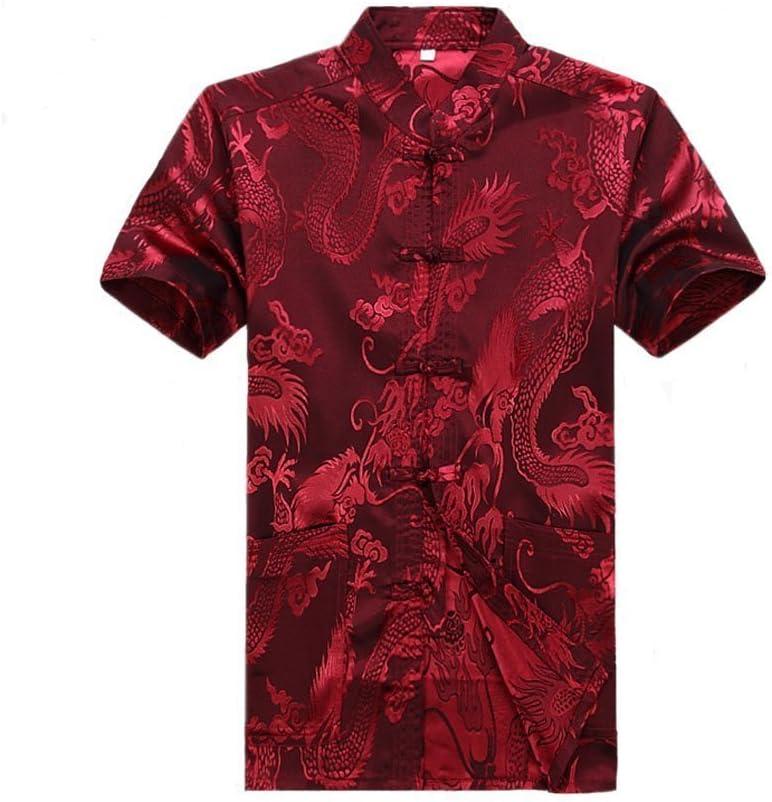 ZooBoo Men's Martial Arts Kung Fu Short Sleeve Shirt with Dragon Pattern