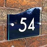 Plaque de maison, plaque d'adressage de maison avec numéro de porte nom de rue, effet verre acrylique.
