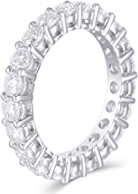 DovEggs 14K White Gold 2-2.5 CTW F Color Moissanite Eternity Engagement Band for Women