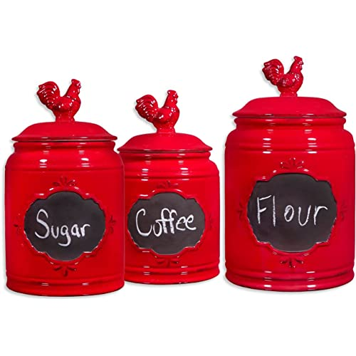 Merveilleux Set Of 3 Red Ceramic Round Chalkboard Rooster Canister Jars With Tight Lids  For Kitchen Or