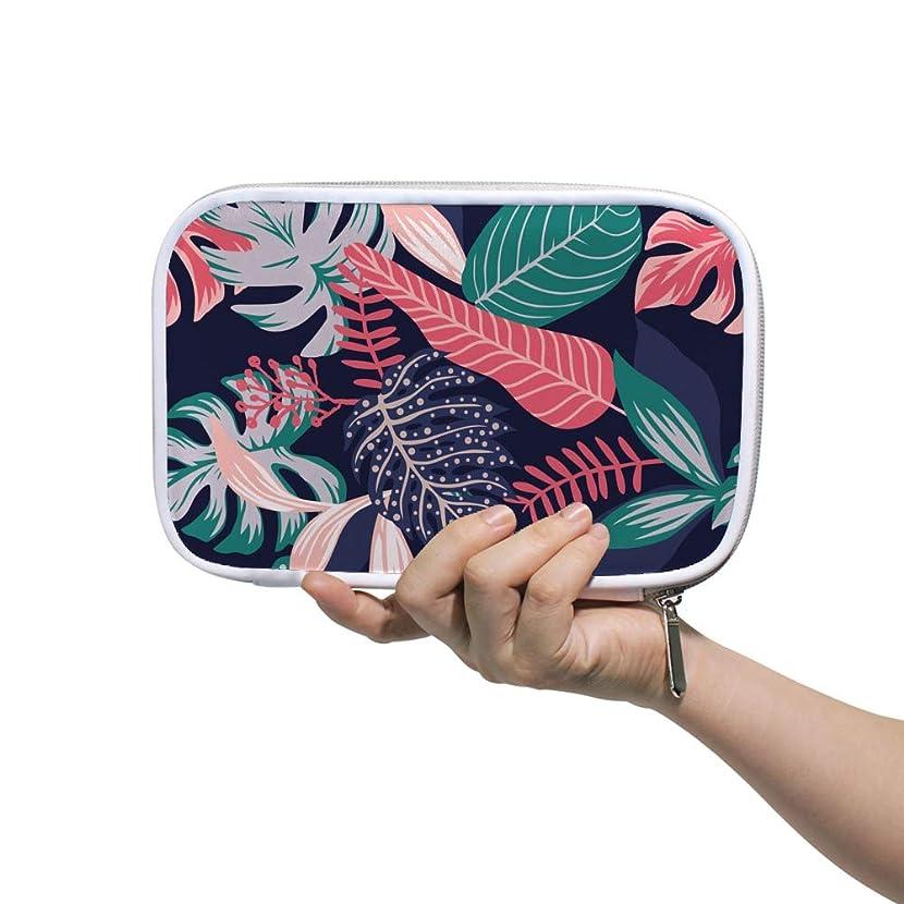 詳細な音声学雪のZHIMI 化粧ポーチ メイクポーチ レディース コンパクト 柔らかい おしゃれ 化粧品収納バッグ コスメケース 黒い背景 葉之柄 機能的 防水 軽量 小物入れ 出張 海外旅行グッズ パスポートケースとしても適用
