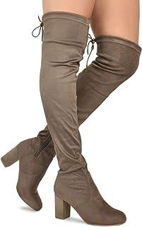 c412fdb5dfb Premier Standard - Women Fashion Comfy Vegan Suede Block Heel Slip On Thigh  High Over The