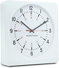 Marathon Silent Non-Ticking Analog Wall Clock with Warm Amber Auto Back Light. Easy to Read Classic Dial with 12 and 24-Hour Scale - Batteries Included - CL030057WH-WH1 (White Case/White Dial)