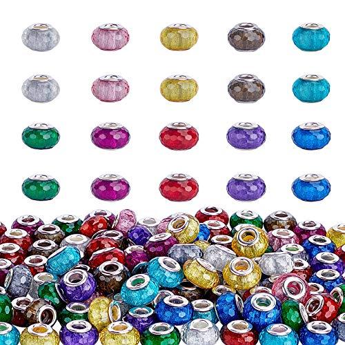 PandaHall 100 cuentas europeas de resina de 10 colores con agujero grande facetado Rondelle para abalorios europeos, pulseras, collares, joyas, 5 mm