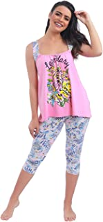 Habiba Cotton Sleeveless Printed Top with Tropical-Pattern Cropped Leggings Pajama Set for Women