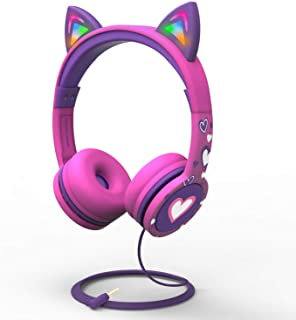 FosPower Kids Headphones with LED Light Up Cat Ears 3.5mm On Ear Audio Headphones for Kids with Laced Tangle Free Cable (M...