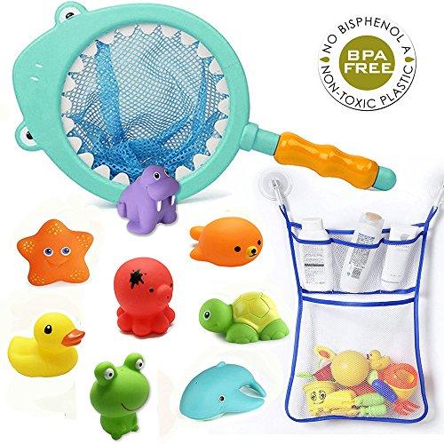Juguete Baño Bebe Recién Nacido y Fiesta de Bienvenida al Bebé, Animales flotantes Juguetes acuáticos Baño Squirt Squeaker Toys Pesca de tiburón y organizador de juguetes Baño Accesorio de Piscina del Infantil para Niños Niñas