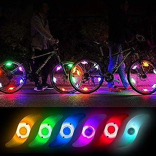 Teguangmei 6Pcs Bicycle Hot Wheel Spoke Lights, Multi-Colors Flashing LED Neon Lights Bike Cycling Tire Spoke Safety Warning Lights Waterproof