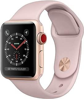 Apple Watch Series 3 38mm Smartwatch (GPS + Cellular Gold w/ Pink Sand Sport Band) (Renewed)