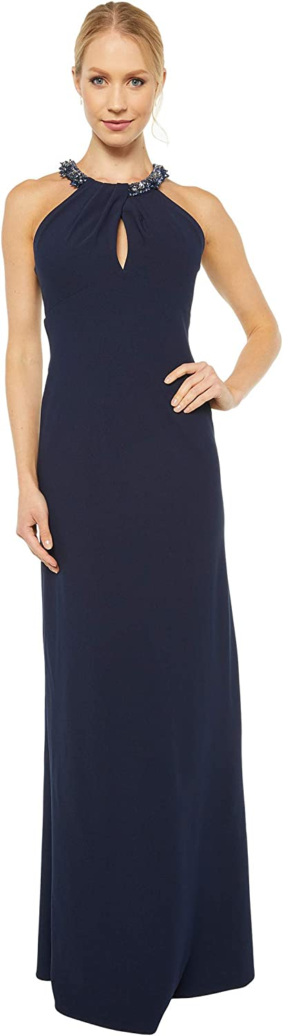 Adrianna Papell Women's Crepe Halter Gown