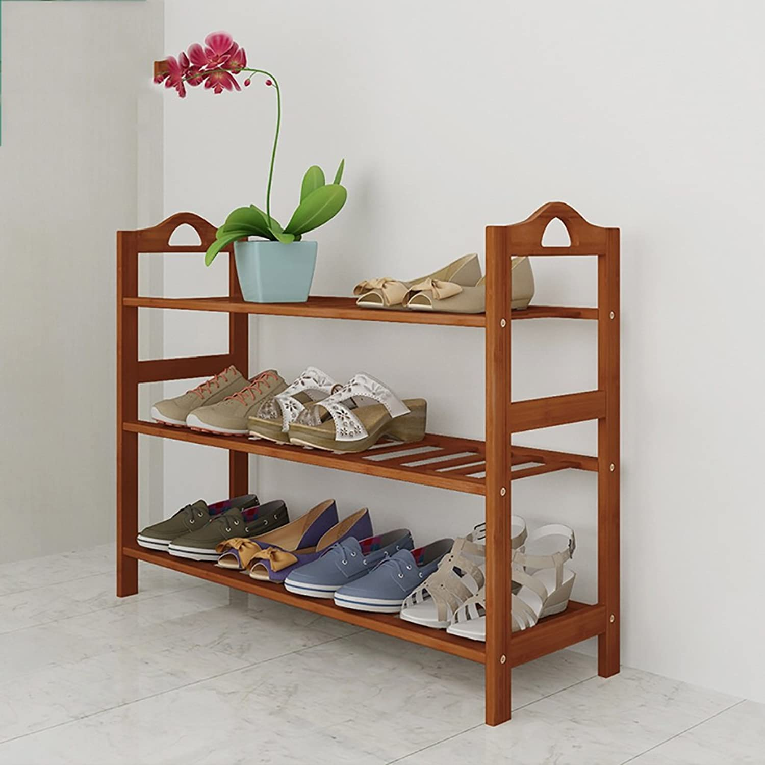 shoes Bench Organizing Rack shoes Rack Bamboo Shelves Multi - Layer dust - Proof Solid Wood shoes Rack Assembly Economical Shelves Home Living Room shoes Cabinet (color   A, Size   67cm)