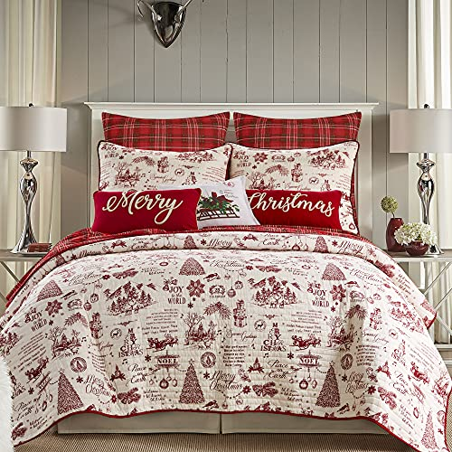 Levtex Home - Yuletide Quilt Set - King Quilt (106x92in.) + Two King Pillow Shams (36x20in.) - Christmas Holiday Script - Red and Cream - Reversible - Cotton