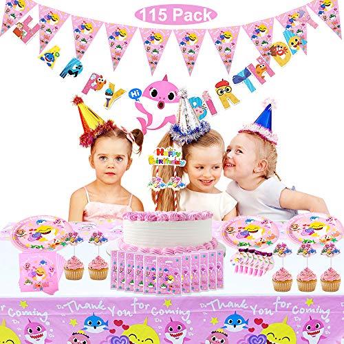 Magichui Conjunto de 115 Piezas Shark Party Supplies Set, Shark Baby Birthday Decoration, Shark Party Decoration, Children Carnival Party Supplies Decoration (Rosado)