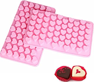 CHICHIC 2 Pack 55 Cavity Multi Functional Silicone Moulds, Silicone Ice Cube Trays, Ice Cube Molds, Nonstick BPA Free Food Grade Silicone, Mini Heart, Pink
