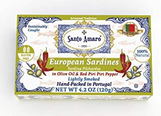SANTO AMARO European Wild Sardines in Olive Oil & Piri Piri Pepper (12 Pack, 120g Each) Lightly Smoked - HOT AND SPICY! Peri Peri - Natural - Wild Caught - GMO FREE - Hand Packed in PORTUGAL - KETO