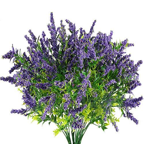HUAESIN 4Pcs Flores Artificiales Lavanda Simulacion Arbusto Artificial Flores de Plastico Plantas Verdes con Flores Purpuras Rama Falsa Decoracion del Exteriores e Interiores Hogar Boda Fiesta