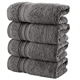 Hammam Linen Cool Grey Hand Towels 4-Pack - 16 x 30 Turkish Cotton Premium Quality Soft and Absorbent Small Towels for Bathroom
