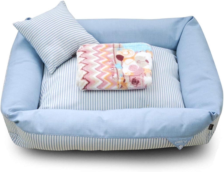 AIDELAI Pet Mat, Large Dog Kennel Cat House Removable And Washable Pet Nest Wearresistant Bite Pet Bed (color   bluee, Size   50×40×16cm)