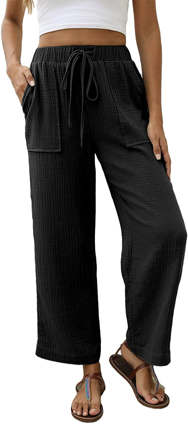 Jollycode Women's Wide Leg Pants Drawstring Palazzo Causal Trousers with Pockets