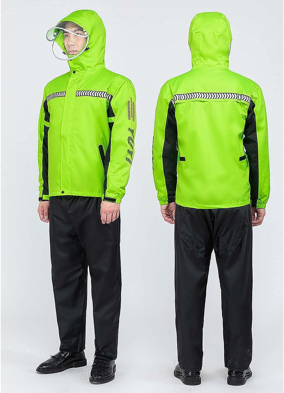 FHGH Double-Layer Commuter Split Raincoat, Thickened Reflective Men's Raincoat Set, Detachable Double Brim,F,Medium