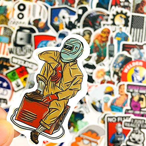 50PCS Welder Stickers Humor Funny Hard Hat Prank Welding Sticker Set for Luggage Laptop Skateboards Tool Box
