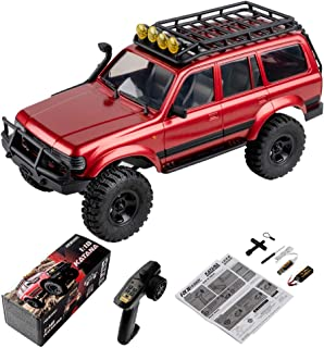 RocHobby RC Car 1:18 Scale Remote Control Vehicle RC Truck, 2.4Ghz 4WD Off Road Waterproof RC Crawler, All Terrains Hobby Electric Toys with Batteries + Connector, 30+ Min Play (Red)