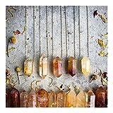 KUYIN Hermosa 5 unids/Lote Natural Citrines Cuarzo Cuarto Punto Doble Punto Colgante Cadenas de Oro Collar Moda Mujeres Cuarzo Collar de Cristal Joyería (Metal Color : 20Inch)