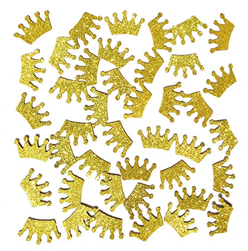 Famoby 100pcs/pack Gold Glittery Prince King Crown Confetti for Baby Shower Party Decorations