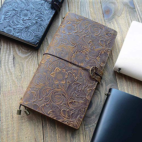 Genuine Leather Refillable Journal Notebook Planner Diary Business Passport Size Notepad Handmade Travelers Notebook (embossed brown)