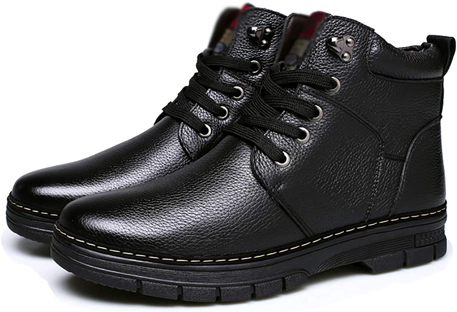 Fad-J Winter men's leather snow boots, warm cotton shoes boots middle-aged father shoes,Black,43